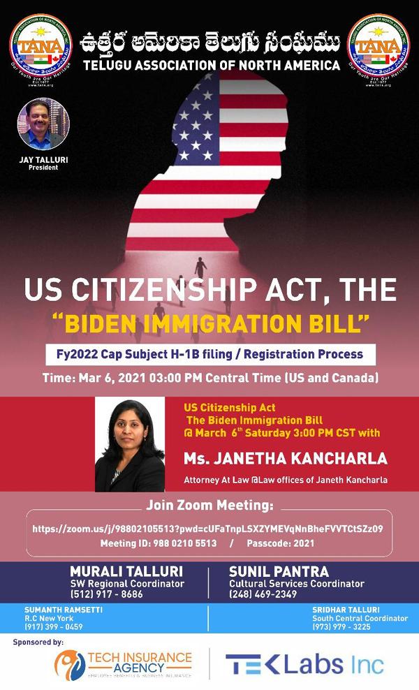 TANA US Citizenship Act, The Biden Immigration Bill