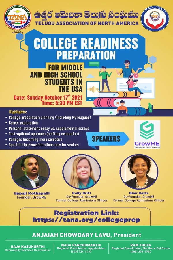 TANA in Association with GrowME is conducting College Readiness Webinar